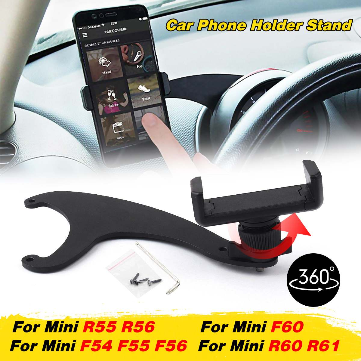 360° For BMW FOR <font><b>Mini</b></font> Cooper R55 R56 R57 R60 R61 F54 F55 <font><b>F56</b></font> F60 <font><b>MINI</b></font> Bracket Car Mobile Phone <font><b>Holder</b></font> Auto Steering Wheel Rear image