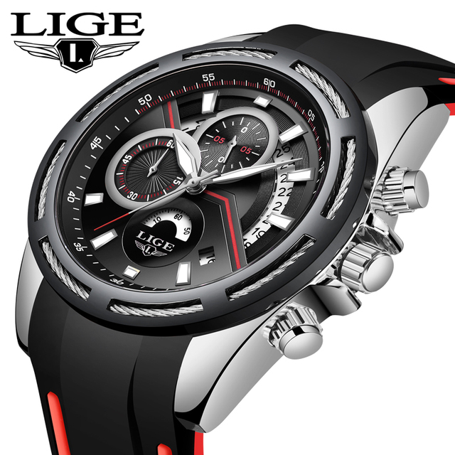 Купить часы наручные lige мужские спортивные роскошные водонепроницаемые картинки цена