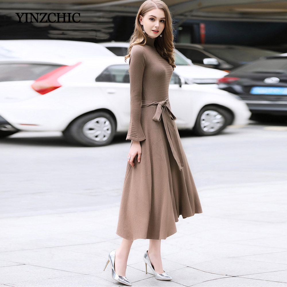 Thick Womans Winter Knitted Dresses Solid Color Woman Slim A-Line Dress Autumn Female Party Warm Dress Casual Street Dress Women