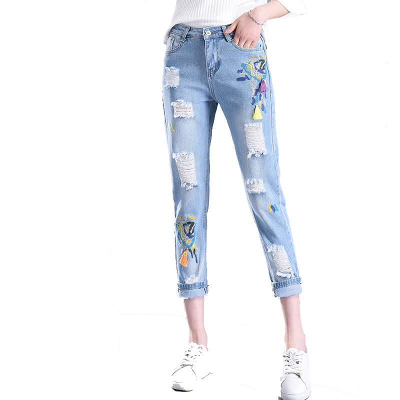 Casual Women jeans skinny Pencil Jeans High Waist Floral Embroidery Fashion Ripped Ankle-Length Women Hole Denim Pants S5020 summer vintage women lace hole jeans high waist floral embroidery fashion ankle length cross pants women denim jeans harem pants