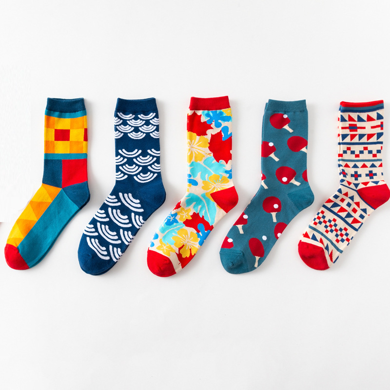 2019 Mens Happy   Socks   Harajuku Hip Hop Breathable Funny   Socks   Men Calcetines Hombre 100% Combed Cotton Cartoon Crew   Sock   for Men