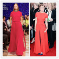 Coral Red Floor Length Front Split Emma Watson Golden Globles Celebrity Dresses 2014 Sexy Backless Carpet Gown New Fashion 2013