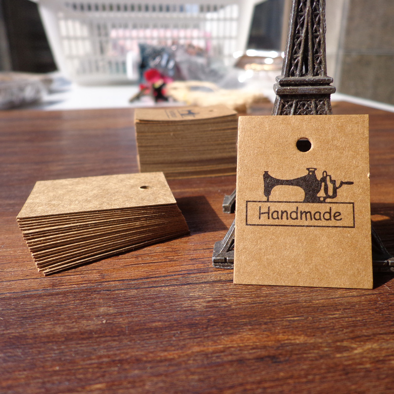 100pcs Mini Sewing Machine Handmade Bookmark Kraft Paper Tags DIY Creative Note Price Lable Hang Tag Gift Tag 3x4cm