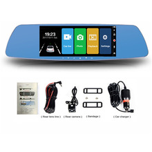 7 дюймов Сенсорный экран Видеорегистраторы для автомобилей Full HD 1080 P Двойной объектив Камера Зеркало заднего вида видео Регистраторы регистраторы Авто Камера Регистраторы