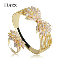 Dazz Three Tone Bownot Shape Bangle Ring Sets Cubic Zircon Big Wide Hand Jewelry Wedding Bridal Geometry Baguette Jewelry Set