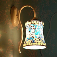 Mediterranean Romatic Style Classical Mosaic Glass Wall Lamps Modern Elegant Warm Iron Lamp For Foyer Porch
