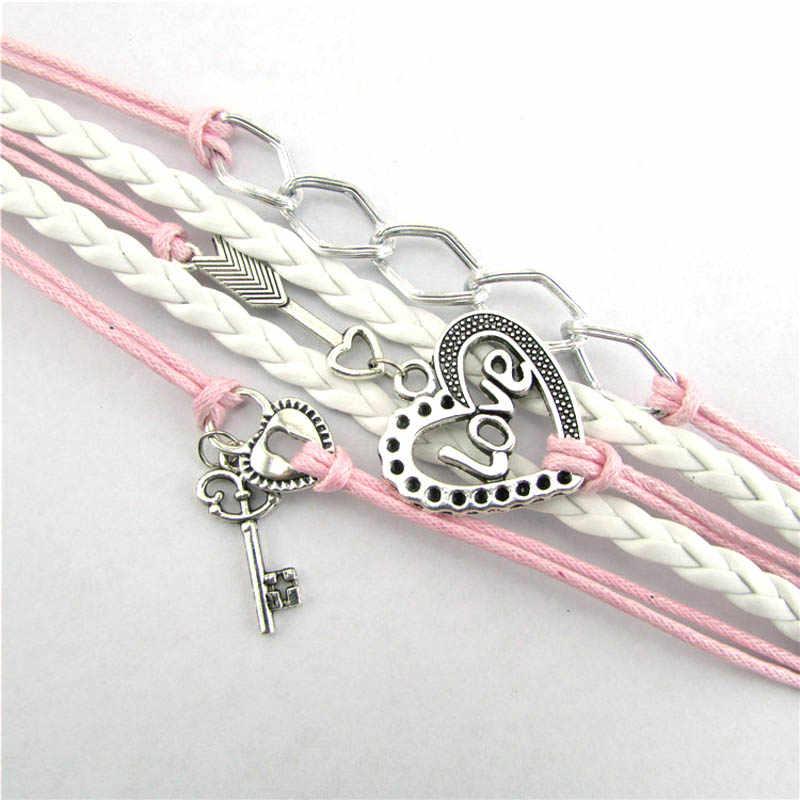 Kobiety bransoletka mężczyźni elastyczna bransoletka boho biżuteria nieskończoność miłość bransoletki dla par blokada wysokiej jakości Pulseras Mujer Moda 2019 L0607