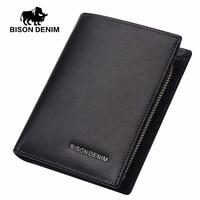 BISON DENIM Cow Leather Wallet Men Zipper Coin Pocket Card Holder Genuine Leather Short Mini Wallet Black Purse For Men N4442