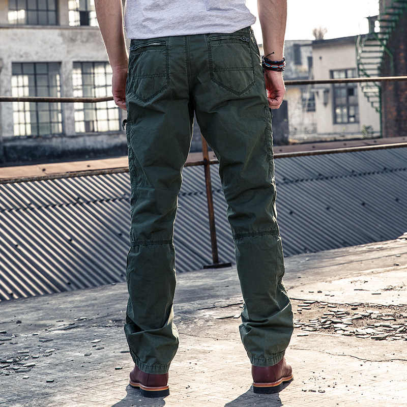High Quality Men's Fashion Army Style Pant Multi Pockets Cargo Pants Men Solid Color Military Overalls Long Trousers Cool New 48
