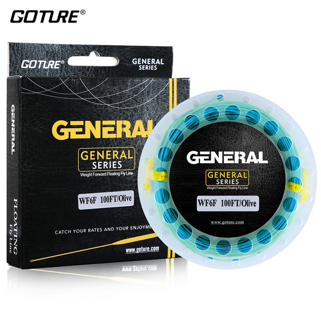 Goture GENERAL Fly Line 30M/100FT WF 3/4/5/6/7/8F Weight Forward Floating Fly Fishing Line with Welded Loops 7 Colors Optional
