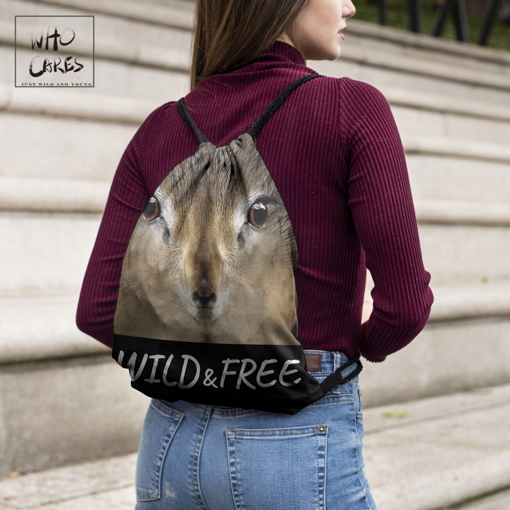Image 3 - WHO CARES New fashion Backpack squirrel 3D printing travel softback bag drawstring bag Portable backpacks-in Backpacks from Luggage & Bags