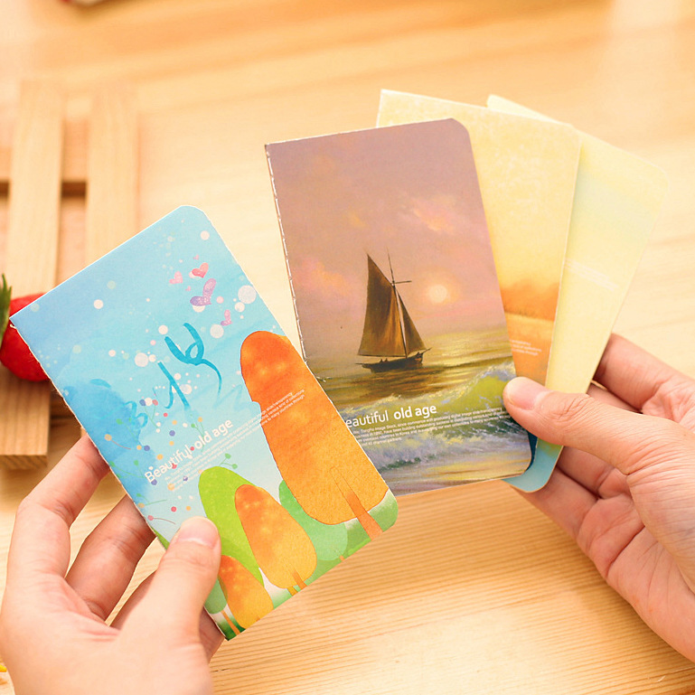 Mini Cute Novelty Beautiful Old Age Ocean  Notebook Notepad Diary Writting Paper Memo Note School Supplies Stationery Wholesale