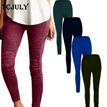 Tcjuly Modis Solid Kurus Slim Pensil Celana Lipit Streetwear Celana untuk Wanita Elastis Ukuran XS-5XL Push Up Celana