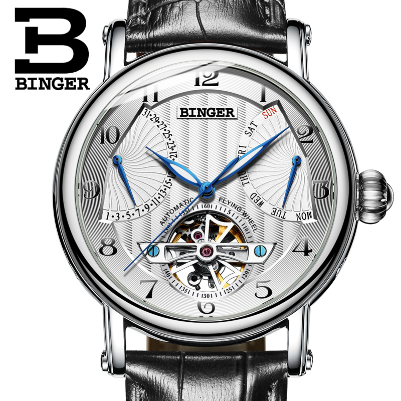 Tourbillon Automatic Watch Mens Mechanical Multifunction Watches Top Brand Luxury Clock BINGER Leather Strap relogio masculino guanqin watch men sport mens watches top brand luxury tourbillon automatic mechanical watch luminous analog clock leather strap
