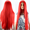 Hot heat resistant Kanekalon Party hair New Cosplay wig Long Straight Red Halve Wig