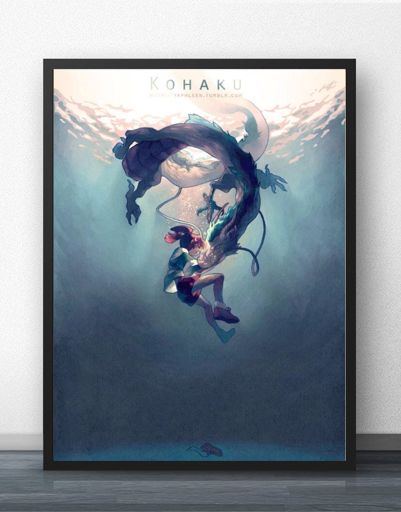 Chihiro & Haku Kohaku Hayao Miyazaki Spirited Away Wall Art Paint Decor Canvas Prints Canvas Art Poster Oil Paintings No Frame image