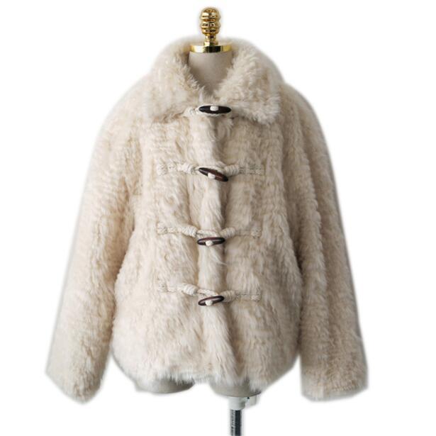 Shaggy Apricot Albicocca Peloso Corno 2018 Tasto Caldo Risvolto Monopetto Vintage Allentato Coat Ricci Fur Del Di Rivestimento Faux Outwear qwqA0P
