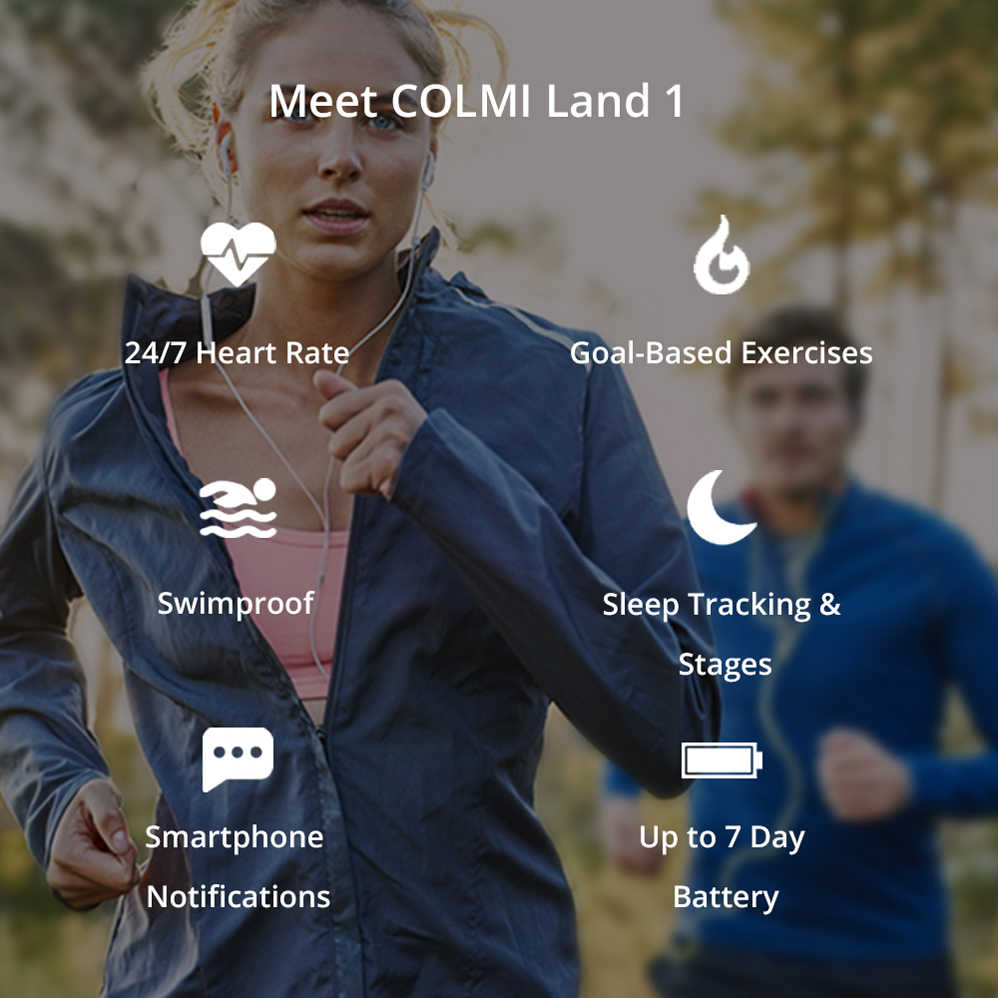 COLMI Wholesale 10 pieces Land 1 Full Touch Screen IP68 Waterproof Smartwatch Support Multiple Sports Modes for Men Women