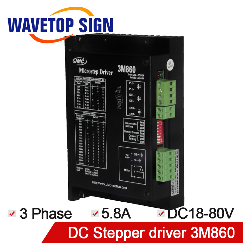 JMC stepper motor driver 3phase step driver 3M860 input voltage DC18-80V with 3 phase motor 57 86 serial for engraving machine original leadshine 2 phase driver dm542 input voltage dc18 48v current 1 0 4 2a match with the motor 57 60 86