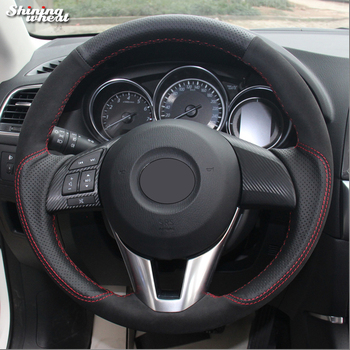 Shining wheat Black Leather Black Suede Car Steering Wheel Cover for Mazda 3 Axela 2013-2016 Mazda 6 Mazda 2 2015-2017 Atenza
