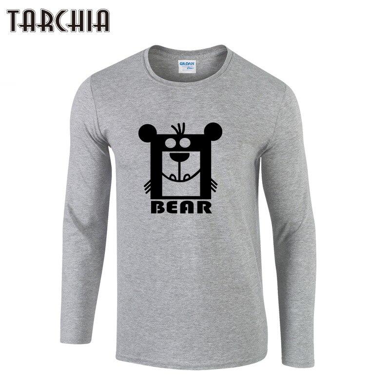 TARCHIA Fashion Brand Bear Print Slim Fit Long Sleeve T Shirt Men Tee O-Neck Casual Men T-Shirt Cotton T Shirts Plus Size