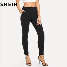 SHEIN taille élastique taille moyenne pantalon maigre automne bureau dame élégant coupe mince verticale femmes crayon pantalon