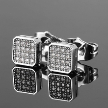 Zircon Square Shape Stud Earring For Women Luxury  Silver-color CZ Stone Crystal Double Small Fashion Jewelry Charms