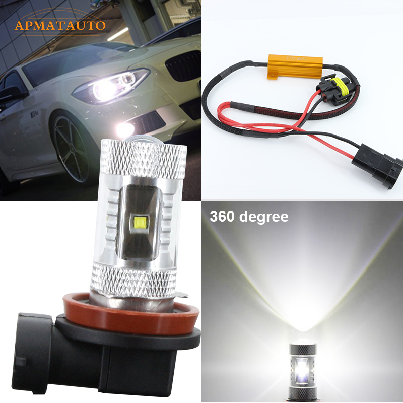 H8 H11 6000K  No Error LED Fog Light DRL Bulb For BMW 3/5-Series 328i 335i E39 525 530 535 540 E46 E60 E61 E92 E93 F10 X3 F25 2x led h11 h8 h9 h11 no error decoder 80w with cree chip car bulb light fog lamps drl headlights for bmw 3 e90 e92 x5 2002 2010
