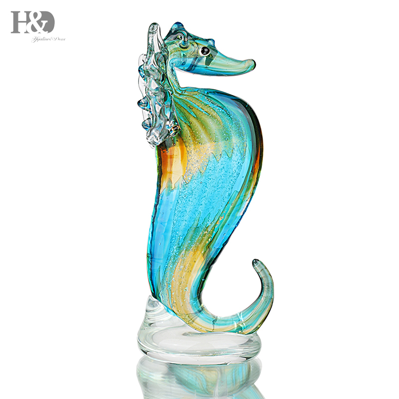 H & D Figurines miniaturas poco Seahorse mar escultura salvaje vida estatuilla arte hecho a mano vidrio soplado arte Decoración regalos