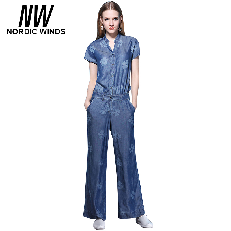 Nordic Winds Floral Print Jumpsuits Jeans Women Fashion Full Length Short Sleeve Cowboy  ...