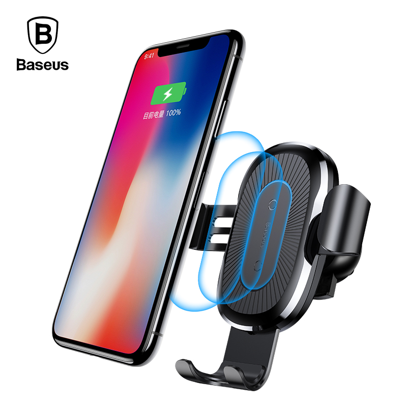 Baseus Car Mount Qi Wireless Charger For iPhone X 8 Plus Quick Charge Fast Wireless Charging Pad Car Phone Holder For Samsung S8