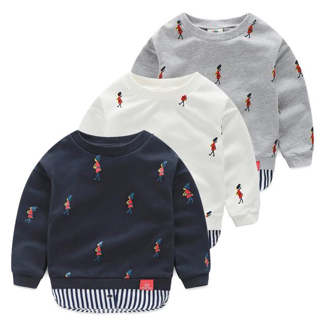 Muchachos de la ropa del Bebé Sudadera 2016 niños del resorte ropa franja infantil prendas de vestir exteriores de Cuello Redondo Tops Envío Gratis