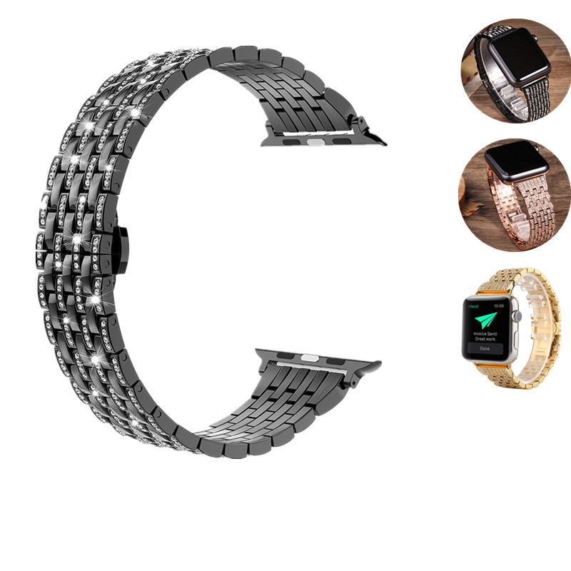 ASHEI Rhinestone Strap For Apple Watch Band 42mm Stainless Steel Series 3 Diamand Link Bracelet For Iwatch Bands Series 1/2 38mm wristband silicone bands for apple watch 42mm sport strap replacement for iwatch band 38mm classic stainless steel buckle clock