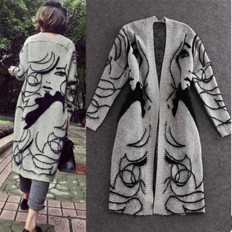 Işareti İlkbahar ve sonbahar dönemi ve soyut tasarım daha gevşek yarasa kollu kazak hırka uzun kazak ceket