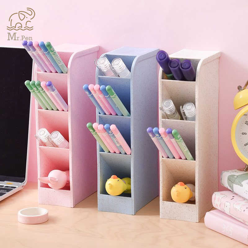 2019 4 Grid Multi-funktion Desktop Stift Halter Clip Karte Lagerung Box Machen Up Pinsel Halter Schreibtisch Bleistift Veranstalter kleinigkeiten Lagerung