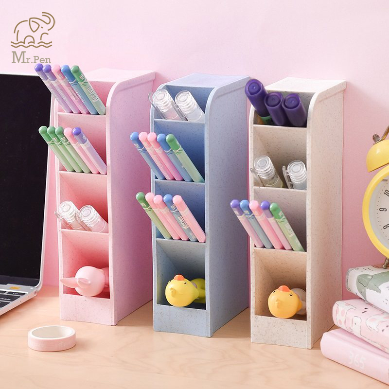 2019 4 Grid Multi function Desktop Pen Holder Clip Card Storage Box Make Up Brush Holder Desk Pencil Organizer Sundries Storage in Pen Holders from Office School Supplies