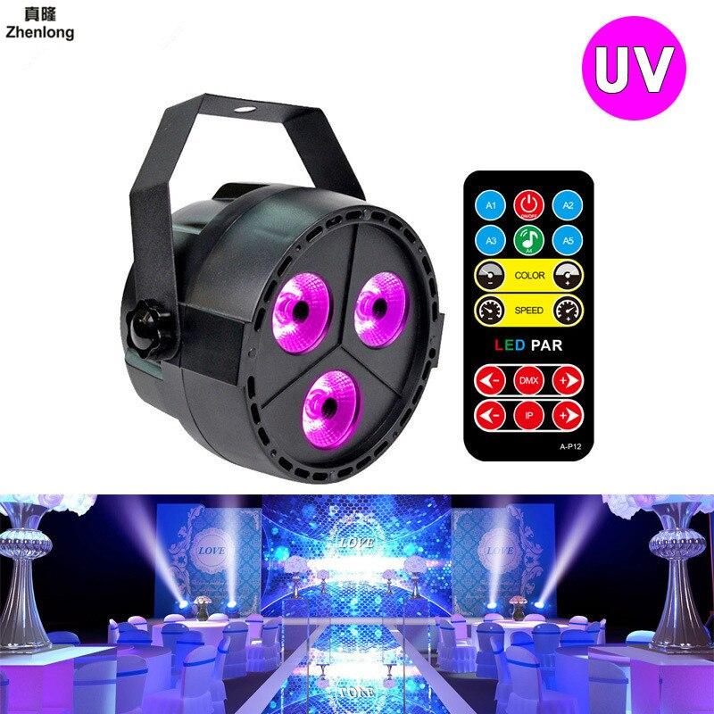 цена на 12W UV LED Stage Light Sound Active 3 LEDs Auto DMX Ultraviolet Strobe Par Black Lights for Disco Light DJ Projector Party