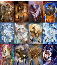 "Touoilp Full Square&round Diamond 5D DIY Diamond Painting ""Wolf and Feathers"" 3D Embroidery Cross Stitch Mosaic Home Decor(China)"