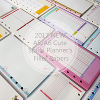 Hot New Mignon A5/A6/A7 Portable les Papiers De Remplissage de Creative 6 Trous De Bourrage Spirale Papier Pour Filofax liant Planificateur Fournitures Scolaires