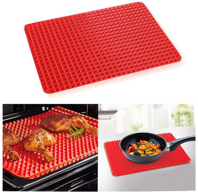 Baking Tray Sheet Silicone Non Stick reusable Kitchen BBQ Mat Microwave Oven Roasting  39cm x 27cm Red