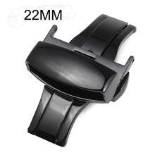 Noir boucle en acier inoxydable Double Push automatique poli bracelet fermoir 16 mm 18 mm 20 mm 22 mm