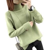 Herbst Winter Rollkragenpullover Frauen 2017 Neue Design Grüne Dicke Trikot Frauen Pullover Und Pullover Weibliche Jumper Tops LU405