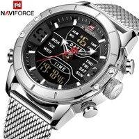 NAVIFORCE Mens Watches Top Brand Luxury Mesh Steel Multiple Time Zone Waterproof Watch For Men Silver Watch Relojes Para Hombre