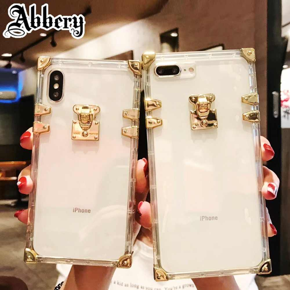 b5b1ad3a2c For iPhone XS Case Luxury Fashion Square Trunk Transparent Phone Cases For iPhone  6 6S 7