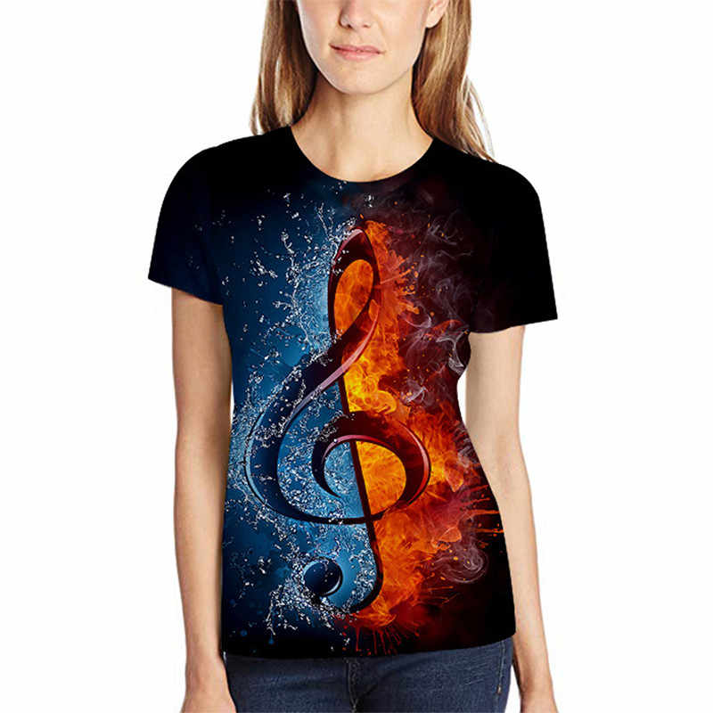 2019 New Personality 3d Digital Printing Short-sleeved T-shirt Music Note Ice Fire Loose Casual Round Neck Short-sleeved T-shirt