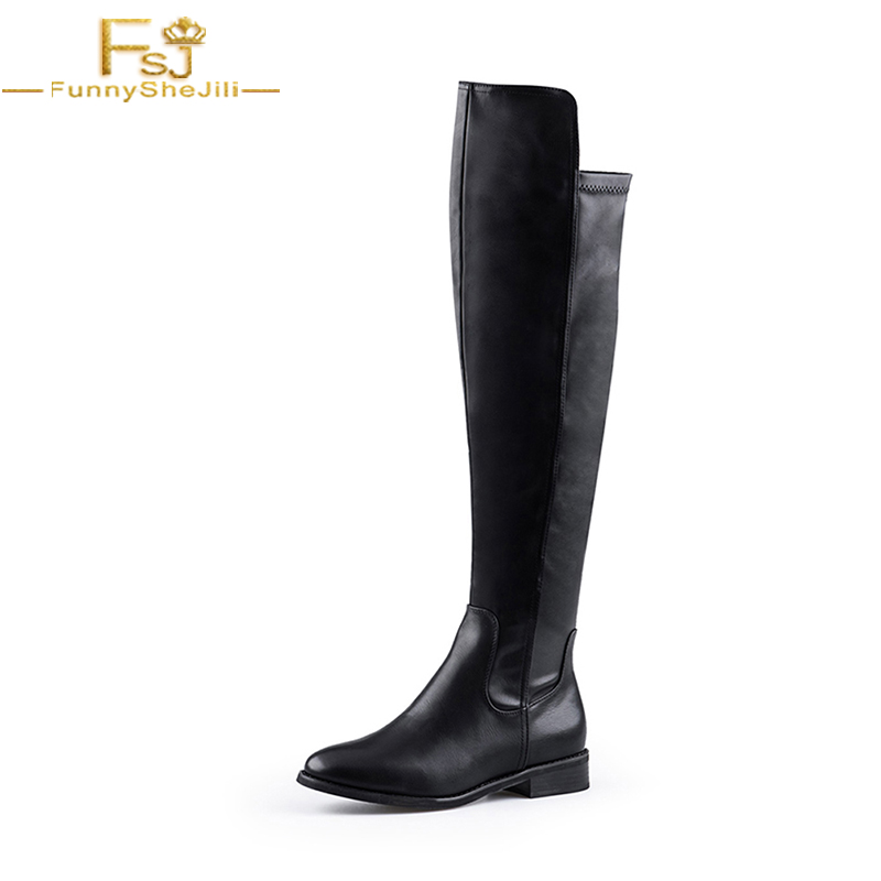 FSJ Winter Women Shoes Knee High Boots Genuine Leather Black High Square Heels Solid Motorcyle Boots Fashion Large Size 16 14