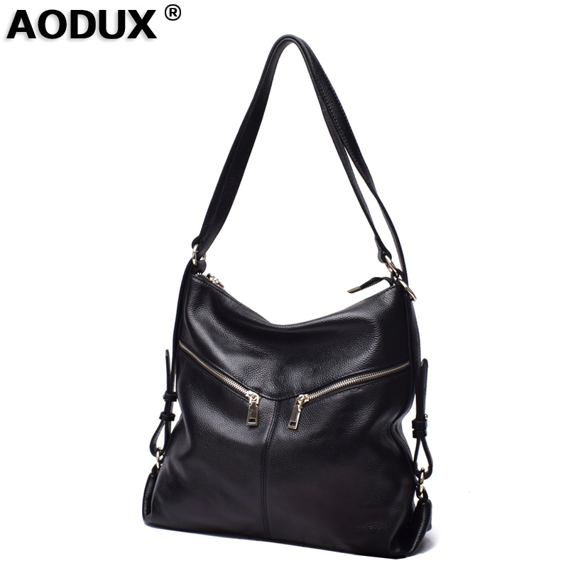 AODUX New 2018 Fashion Real Nature Cow Leather Luxury Women Handbag Soft Genuine Leather Tote Shoulder