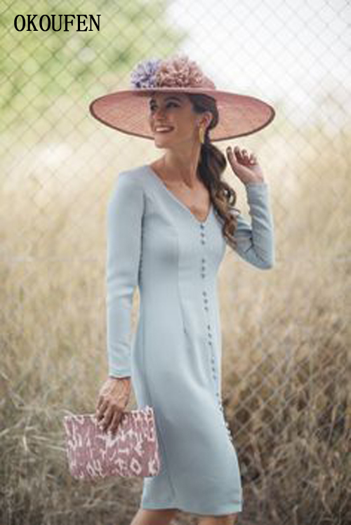 Simple Short Mother Of The Bride Dresses For Wedding 2019 Knee Length Long Sleeve V-Neck Buttons Vestido De Madrinha Farsali