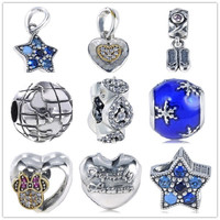 9 Style 925 Sterling Silver Beads Charms Star Heart Earth Bead For Original Pandora Charms Bracelet & Bangle Jewelry ZBZ026