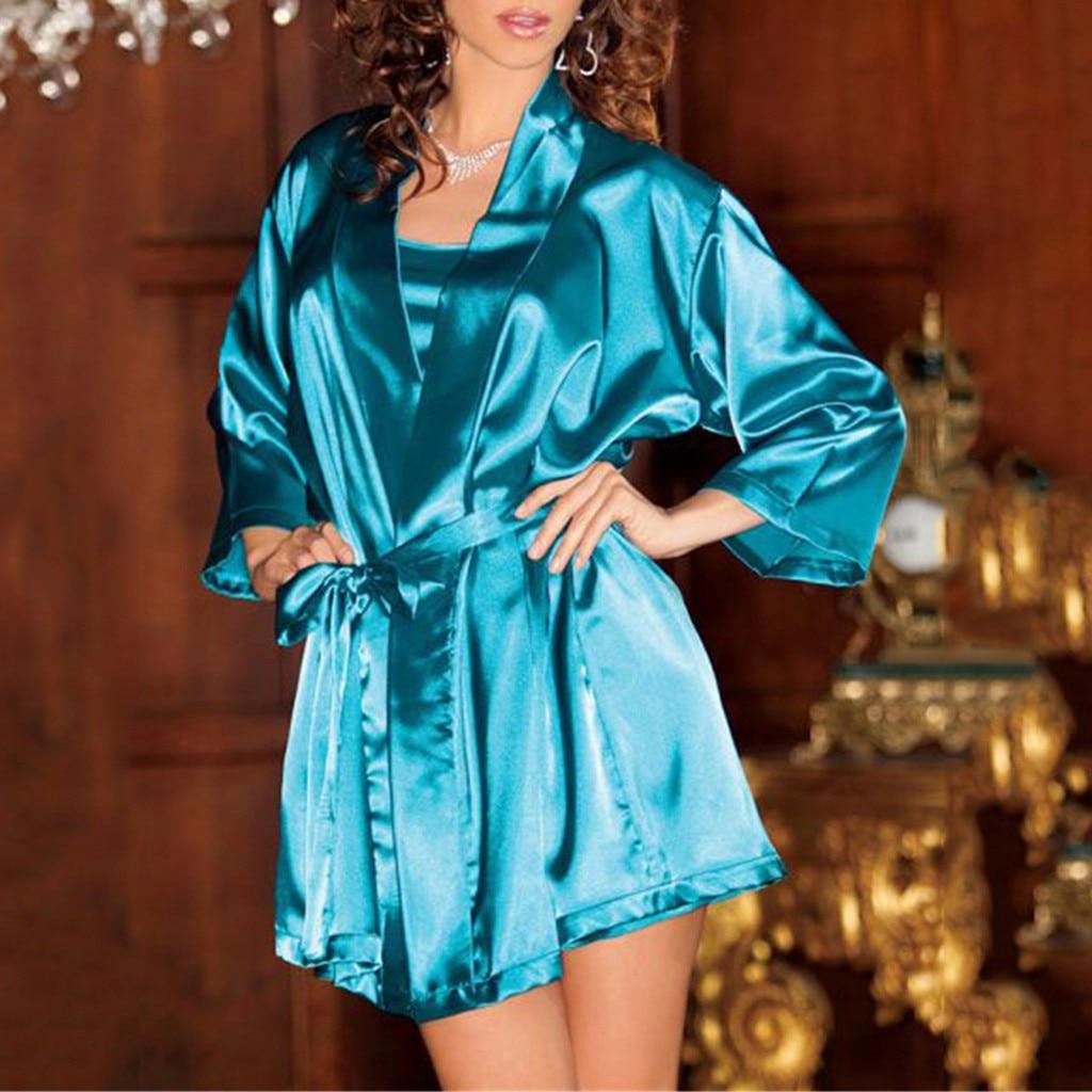 2019 Neuer Stil Frauen Satin Kleid Nighty Nachthemd Seide Pyjamas Plus Größe Sexy Dessous Damen Nachthemd Nachtwäsche Sexy Robe Pyjama Femme2019